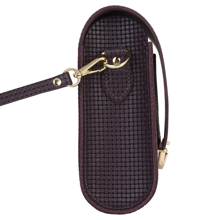 Large Push Lock in Leather - Juniper Lattice