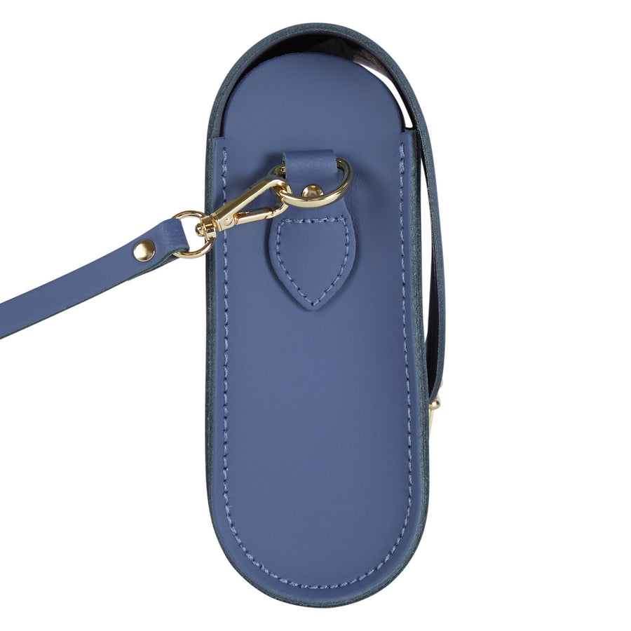 Large Push Lock in Leather - Italian Blue Matte