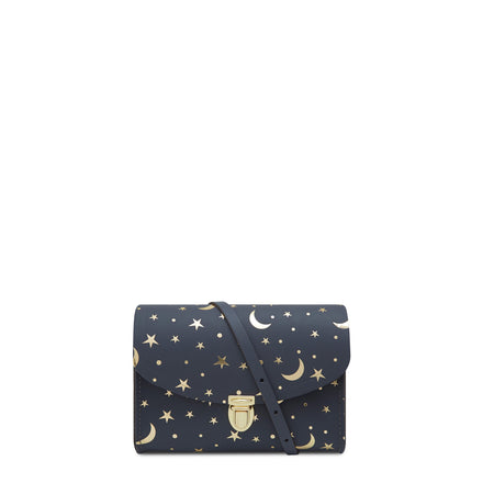 Push Lock in Leather - Starstruck on Navy | Women's Clutch & Cross Body Bag