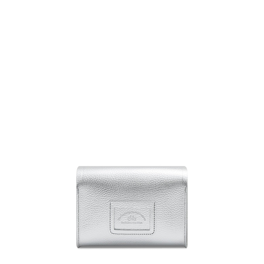 Push Lock in Leather - Silver Metallic Foil Celtic Grain | Women's Clutch & Cross Body Bag