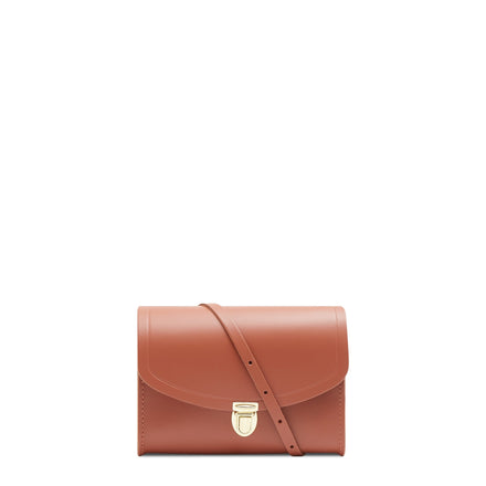 Push Lock in Leather - Nutmeg | Women's Clutch & Cross Body Bag