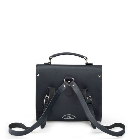Poppy Backpack in Saffiano Leather - Navy Saffiano