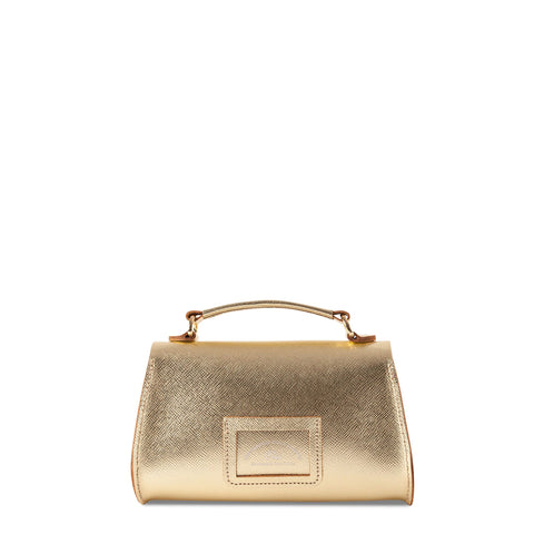 Mini Poppy Bag in Leather - Gold Saffiano