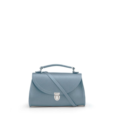 Mini Poppy Bag in Saffiano Leather - French Grey Saffiano