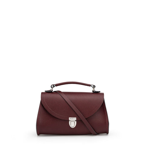 Mini Poppy Bag in Saffiano Leather - Oxblood Saffiano