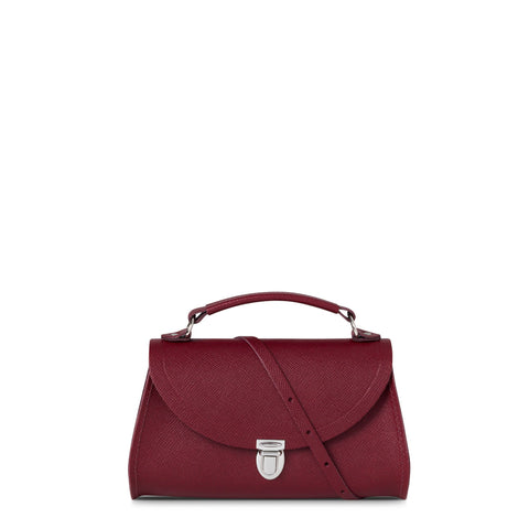Mini Poppy Bag in Saffiano Leather - Rhubarb Red Saffiano