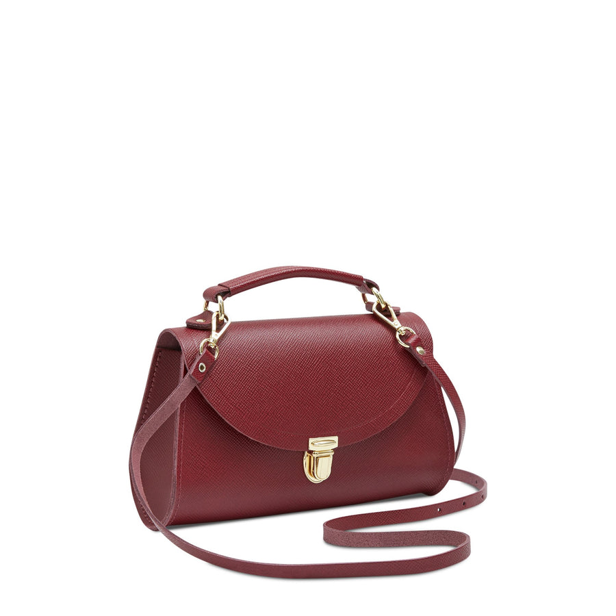 Mini Poppy Bag in Leather - Rhubarb Red Saffiano
