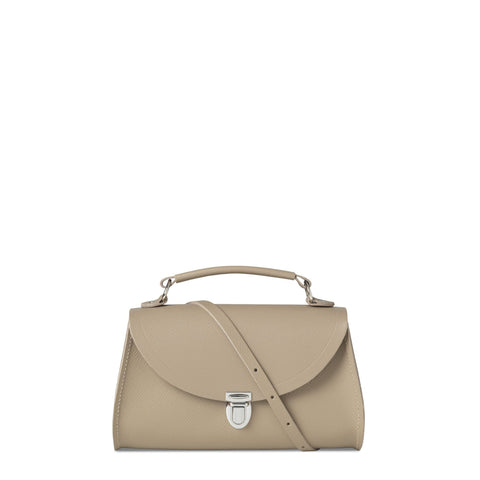 Mini Poppy Bag in Saffiano Leather - Putty Saffiano