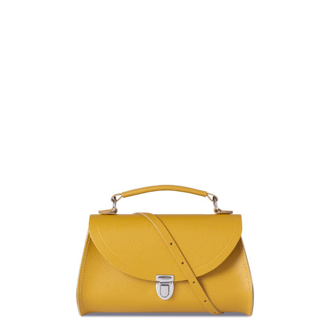 Mini Poppy Bag in Saffiano Leather - Mustard Saffiano