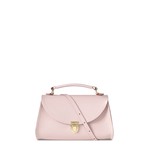 Mini Poppy Bag in Leather - Peach Pink Patent Saffiano