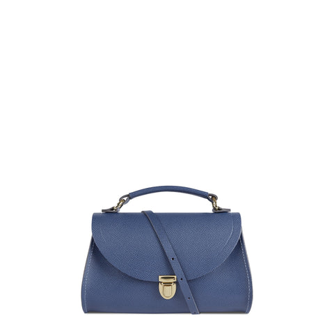 Mini Poppy Bag in Leather - Italian Blue Saffiano
