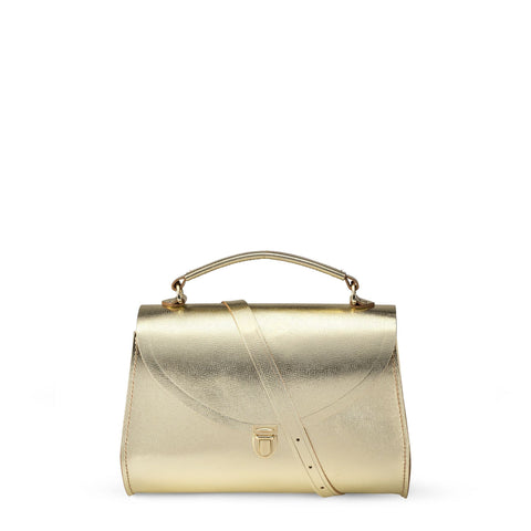 Poppy Bag in Leather - Gold Saffiano