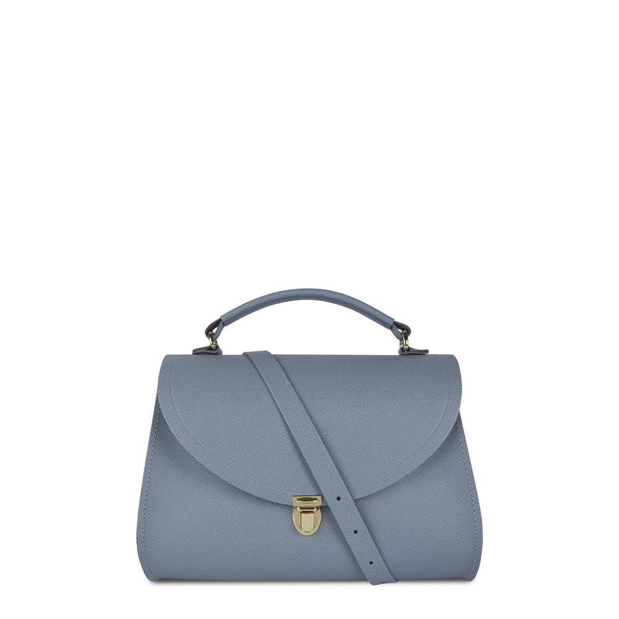 Poppy Bag in Leather - French Grey Saffiano