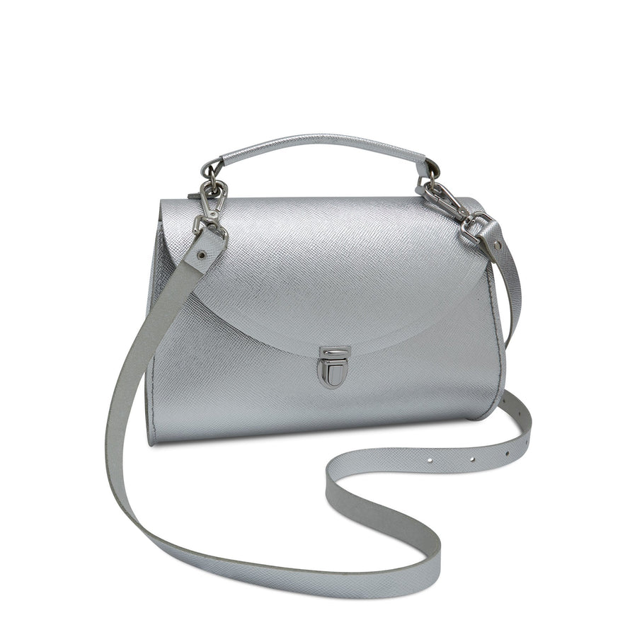 Poppy Bag in Leather - Silver Foil Saffiano Metallic Full Grain