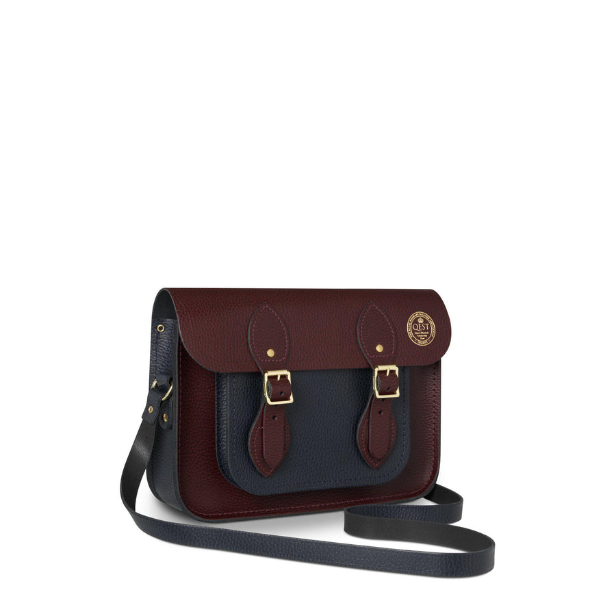 11 Inch QEST Magnetic Satchel in Grain Leather - Oxblood & Navy