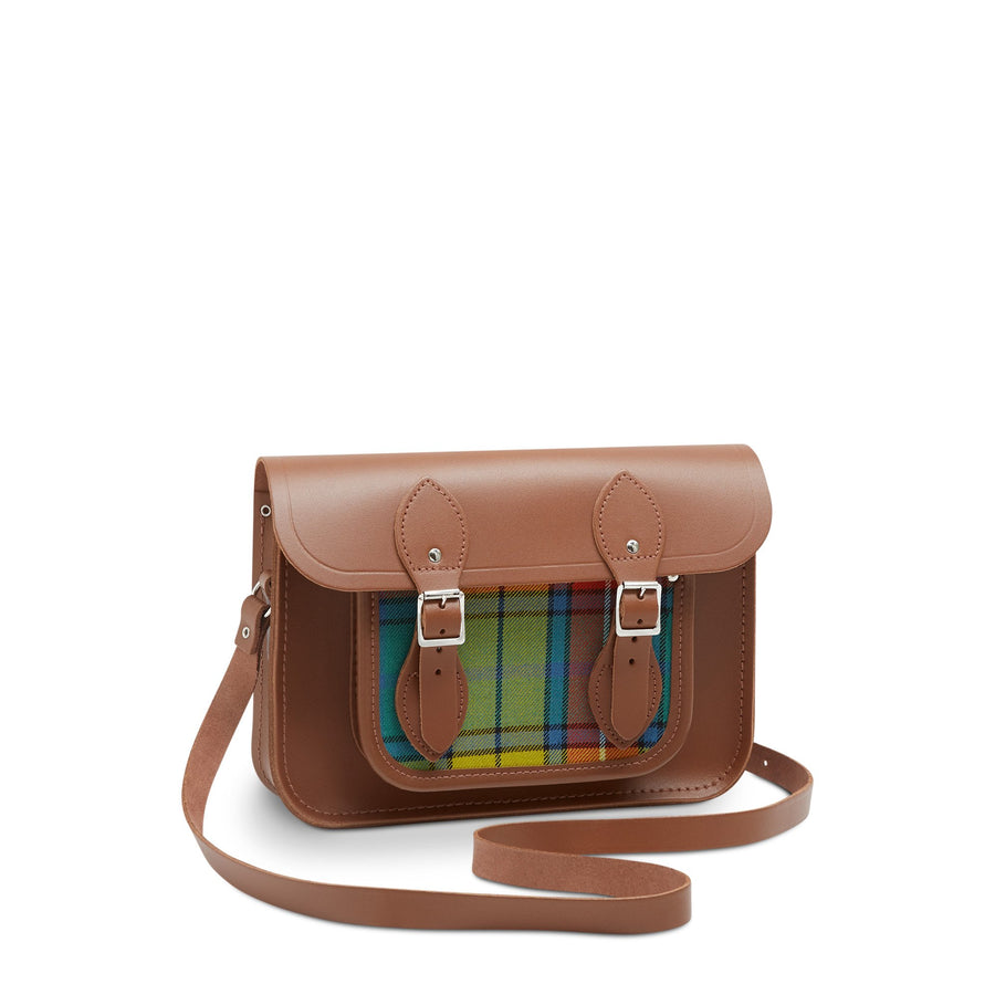 11 Inch Magnetic Satchel in Leather - Vintage with Yellow Tartan | Cambridge Satchel