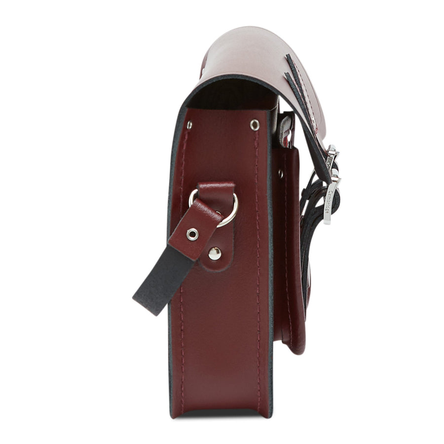 11 inch Magnetic Satchel in Leather - Oxblood with Stewart Black Tartan