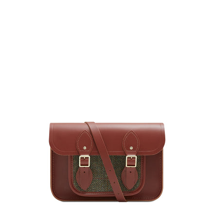 11 inch Magnetic Satchel in Leather - Brandy with Green Tweed | Cambridge Satchel