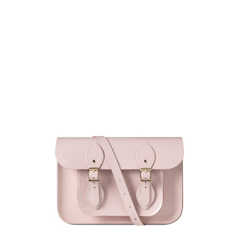11 inch Magnetic Satchel in Leather - Peach Pink Patent Saffiano