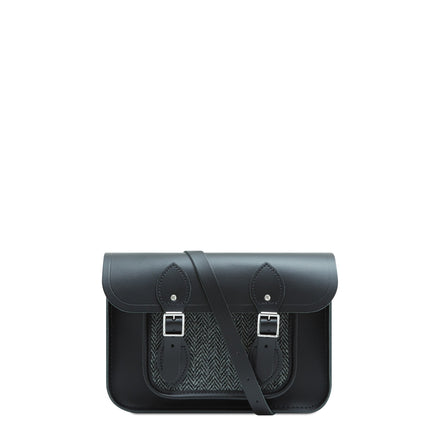 11 inch Magnetic Satchel in Leather - Black with Grey Tweed | Cambridge Satchel Company