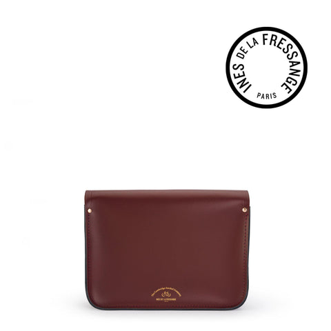 Ines De La Fressange 11 Inch Satchel in Saffiano Leather - Oxblood & Navy
