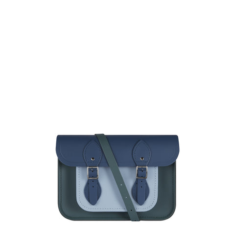 11 Inch Satchel in Leather - Fir, Peacock and Periwinkle Blue