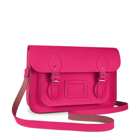 13 inch Magnetic Satchel in Leather - Fluoro Pink