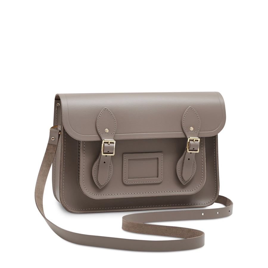 13 inch Magnetic Satchel in Leather - Mink | Unisex Leather Bag