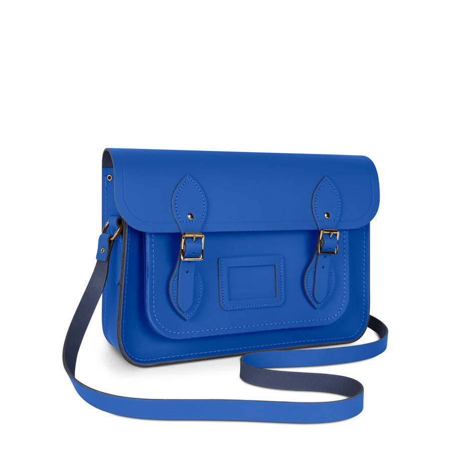 13 Inch Magnetic Satchel in Leather - Electric Cornflower Matte