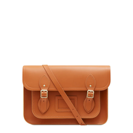 13 inch Magnetic Satchel in Leather - Caramello | Unisex Leather Bag