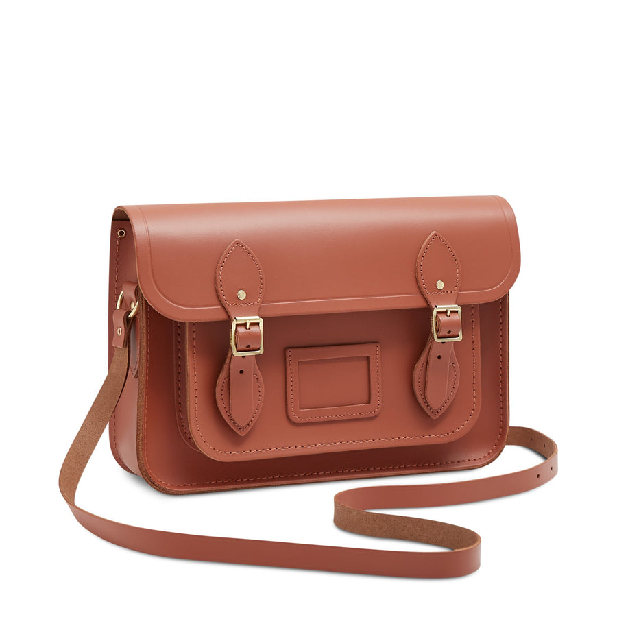 13 inch Magnetic Satchel in Leather - Nutmeg | Unisex Leather Bag