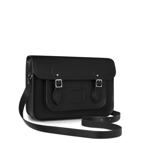 14 inch Magnetic Satchel in Leather - Black