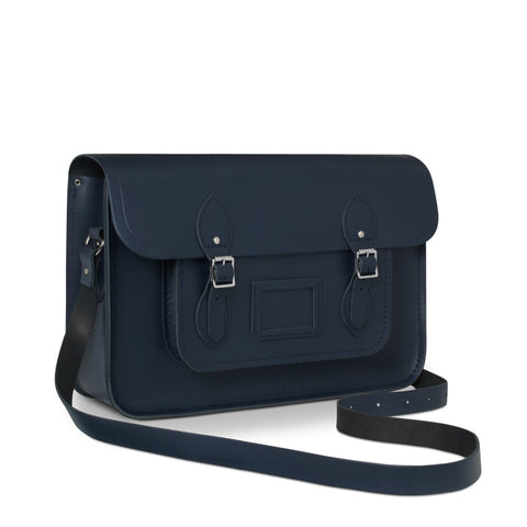 15 inch Classic Satchel in Leather - Navy
