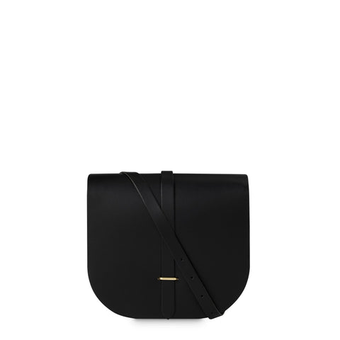 Large Saddle Bag in Leather - Black