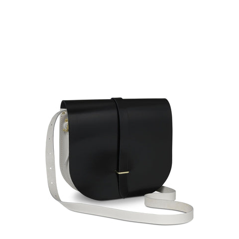 Large Saddle Bag in Leather - Black Patent & Clay