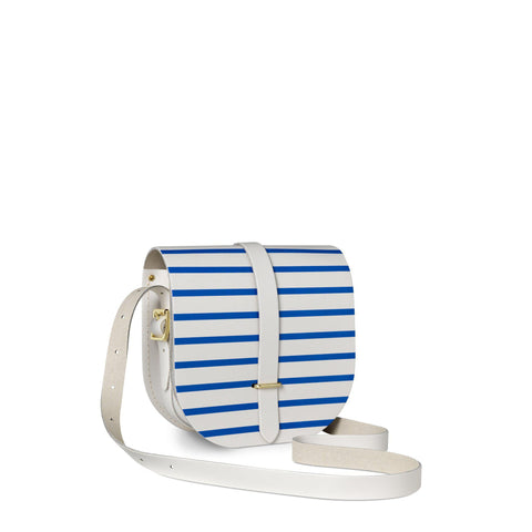 Saddle Bag in Leather - Blue Breton Stripe on Clay