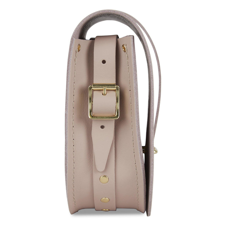 Saddle Bag in Leather - Dusk Matte & Brass Rivets on Shoulder Strap