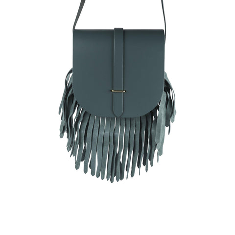 Saddle Bag in Leather - Fir & Fir Suede Fringing