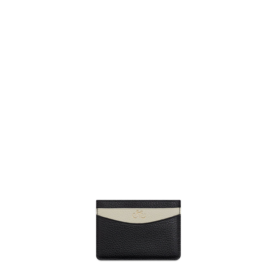 The Cambridge Satchel Company Scoop Side Card Case in Leather - Black / Taupe