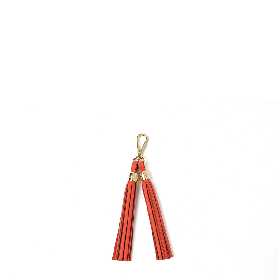 Tassel Keychain in Leather - Chilli Jam Matte