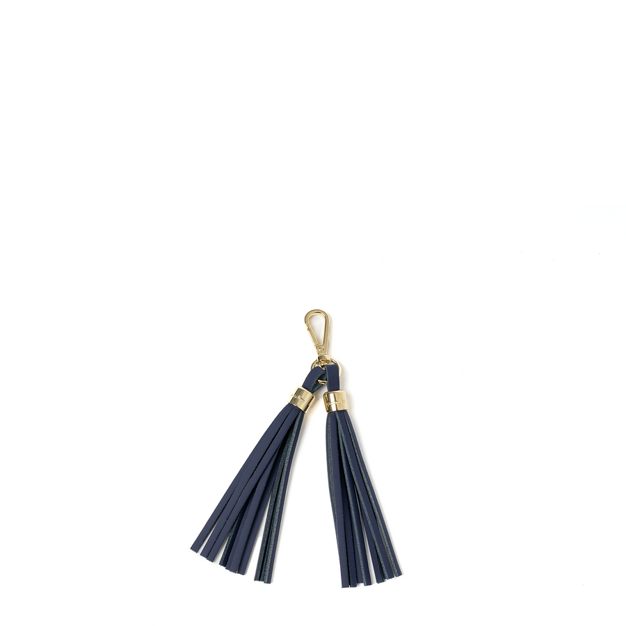 Tassel Keychain in Leather - Midnight Picnic Matte