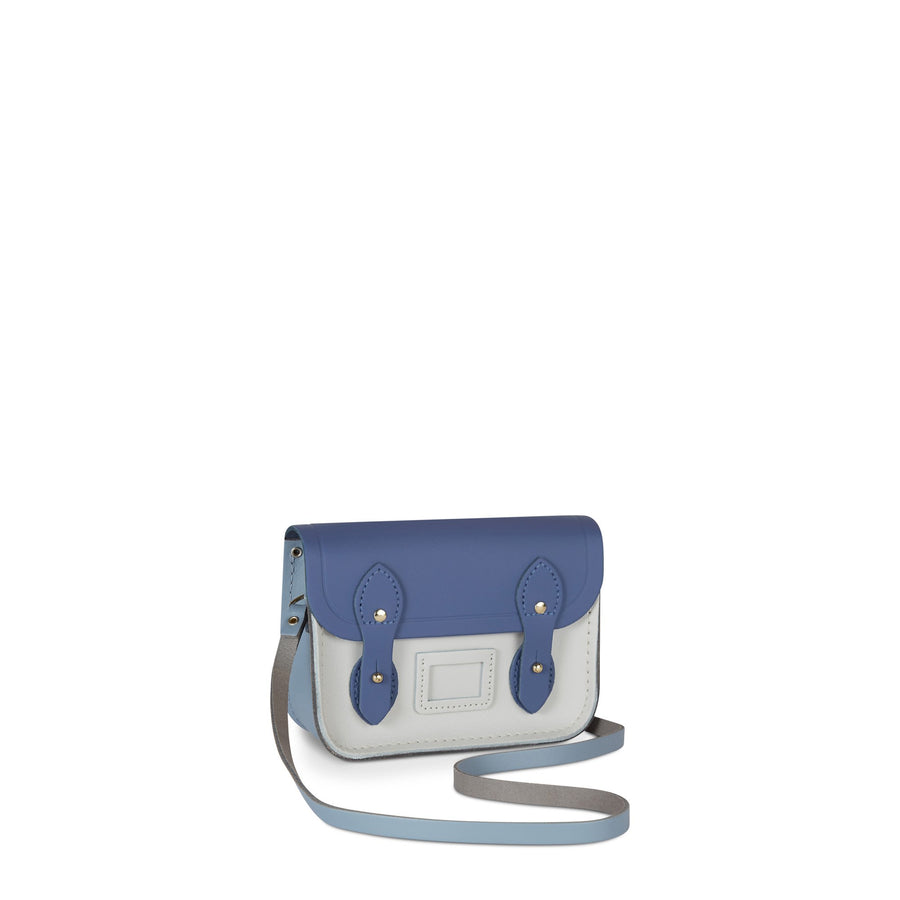 Tiny Satchel in Leather - Italian Blue Matte, French Grey & Clay