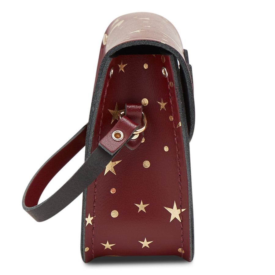 Tiny Satchel in Leather - Starstruck on Oxblood