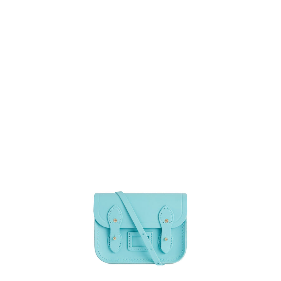 Tiny Satchel in Leather - Cambridge Blue
