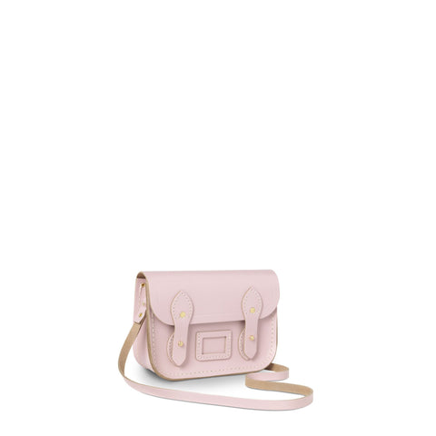 Tiny Satchel in Leather - Peach Pink Patent Saffiano