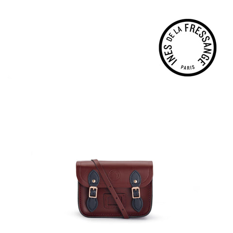Ines De La Fressange Tiny Satchel in Leather - Oxblood and Navy
