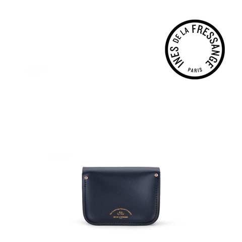 Ines De La Fressange Tiny Satchel in Leather - Navy, Clay & Red Patent