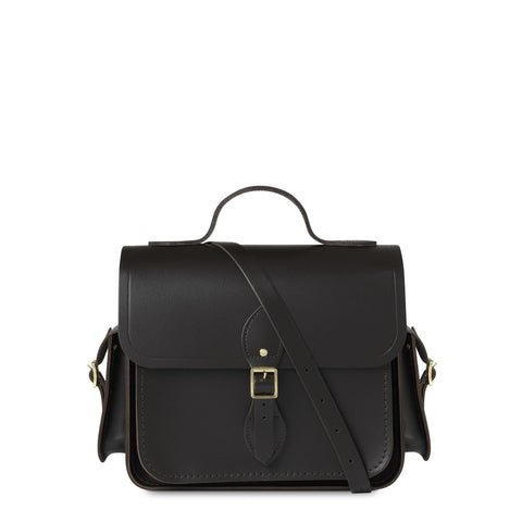 Large Traveller Bag with Side Pockets in Leather - Black