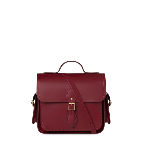 Large Traveller Bag with Side Pockets in Leather - Rhubarb Red