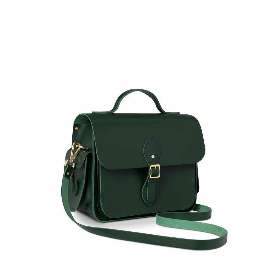 Large Traveller Bag with Side Pockets in Leather - Racing Green
